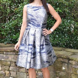 Nicole Miller Silver and Blue Fit and Flare Dress